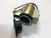 Гнездо металлическое под штекер прикуривателя с резиновой крышкой и подсветкой AG-1018-1