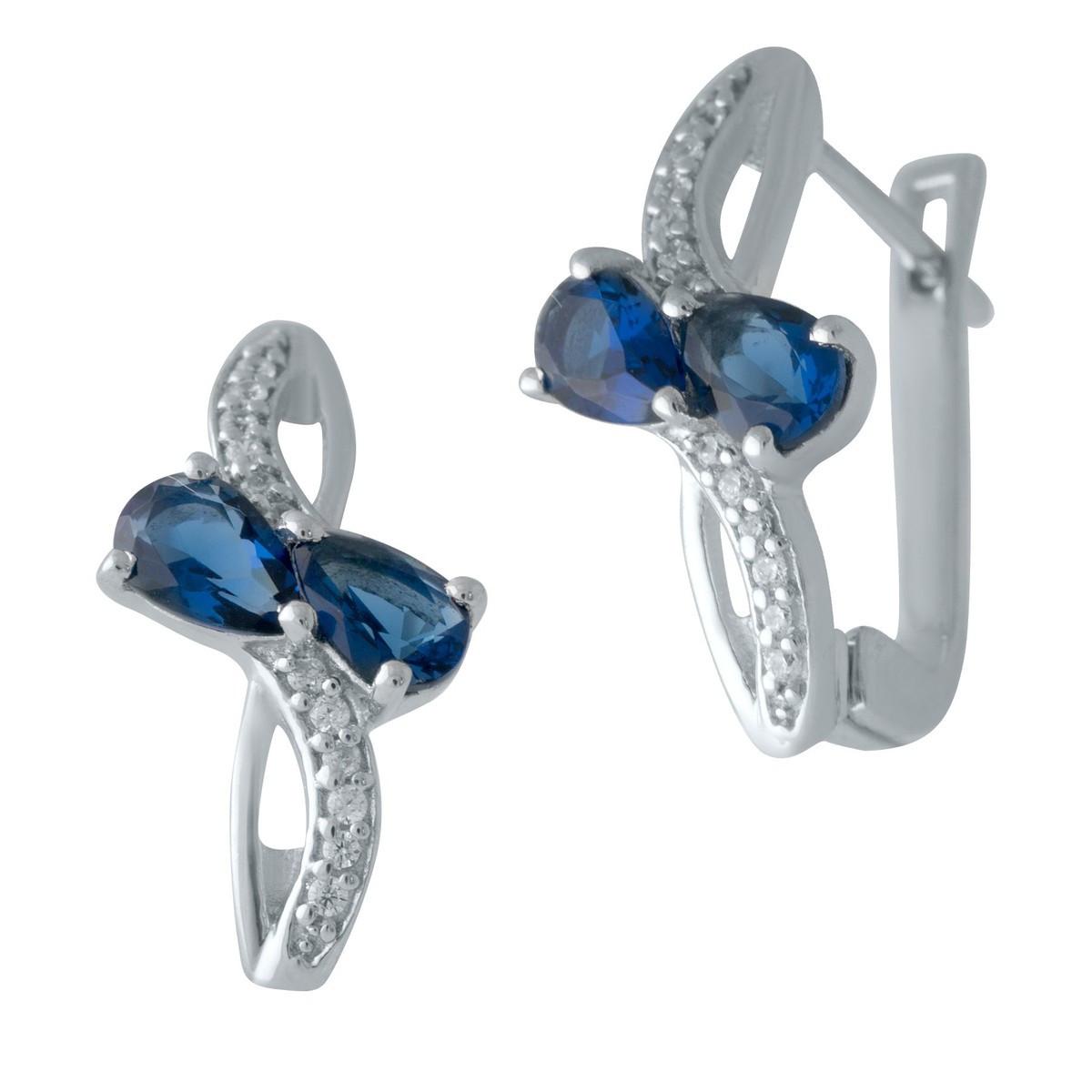 Серебряные серьги DreamJewelry с сапфиром nano (2006893)