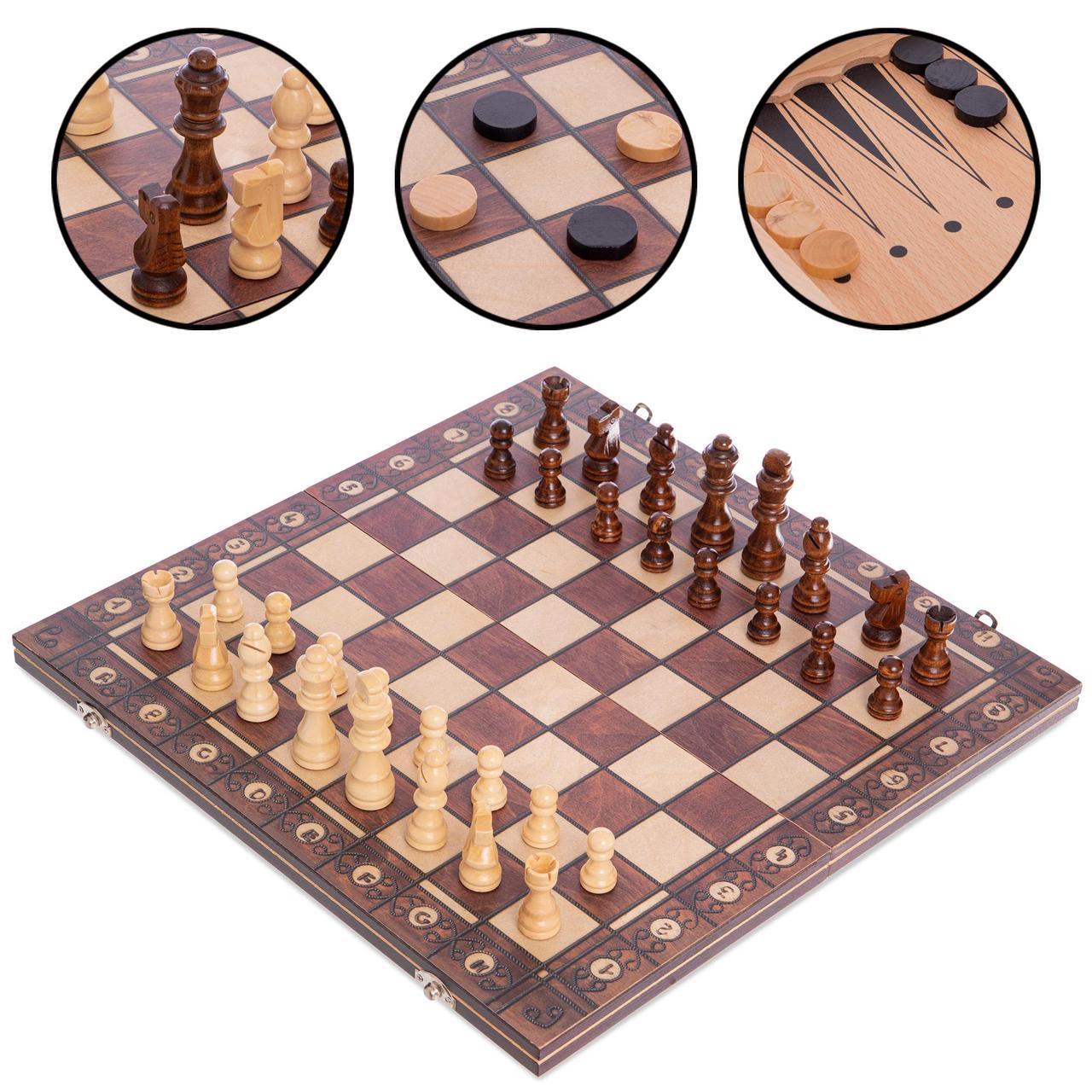 Шахматы, шашки, нарды 3 в 1 деревянные с магнитом W7702H 39*39 см