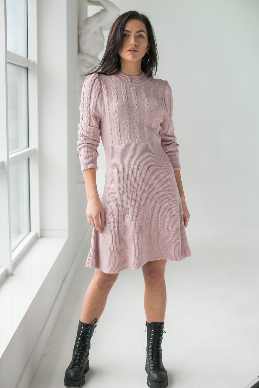 Теплое платье оригинального силуэта  LUREX - пудра цвет, L (есть размеры)