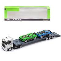 """Игровой набор """"Трейлер-автовоз"""", белый 3, металлические модели,машинка,игрушки для мальчиков,машина"""