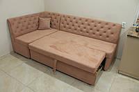 Кутовий кухонний диван зі спальним місцем (Блідо-рожевий), фото 1