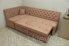 Кутовий кухонний диван зі спальним місцем (Блідо-рожевий)