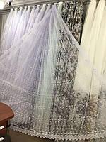 Гардина білого кольору з вишивкою на фатині /Тюль молочная с вышивкой на фатине, фото 1