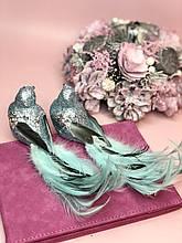 Декоративная птица на клипсе 20см, цвет - мятно-бирюзовый 2 шт.