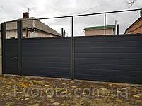 Ворота распашные ш6000, в2000 с калиткой ш1100, в2000 (зашивка сендвич-панелями), фото 2