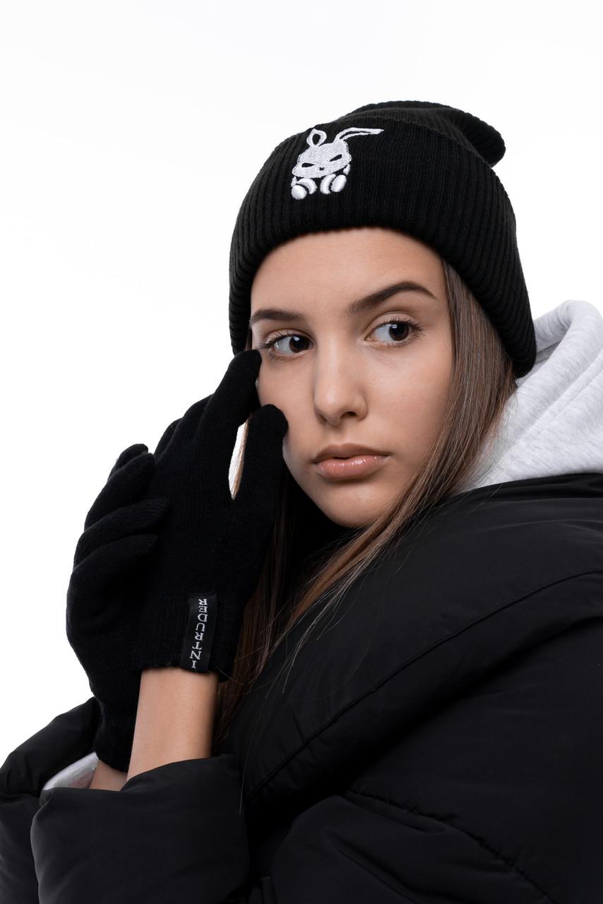 Перчатки женские | мужские Зимние с логотипом Intruder черные