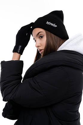 Перчатки женские | мужские Зимние с логотипом Intruder черные, фото 2