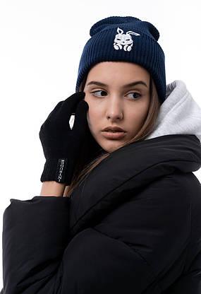 Перчатки женские | мужские Зимние с логотипом Intruder черные, фото 3