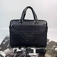 Мужской кожаный качественный деловой портфель для документов Giorgio Armani Джорджо Армани реплика