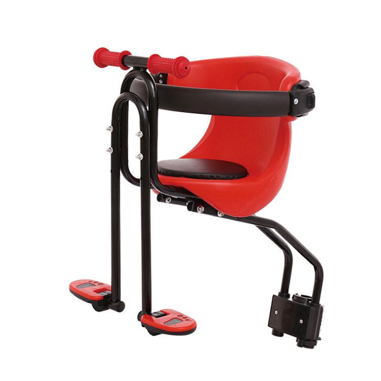 Детское велокресло на дугах спереди красное