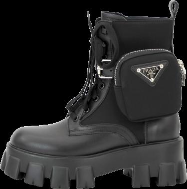 Женские ботинки Prada Monolith (Premium-Lux) черный