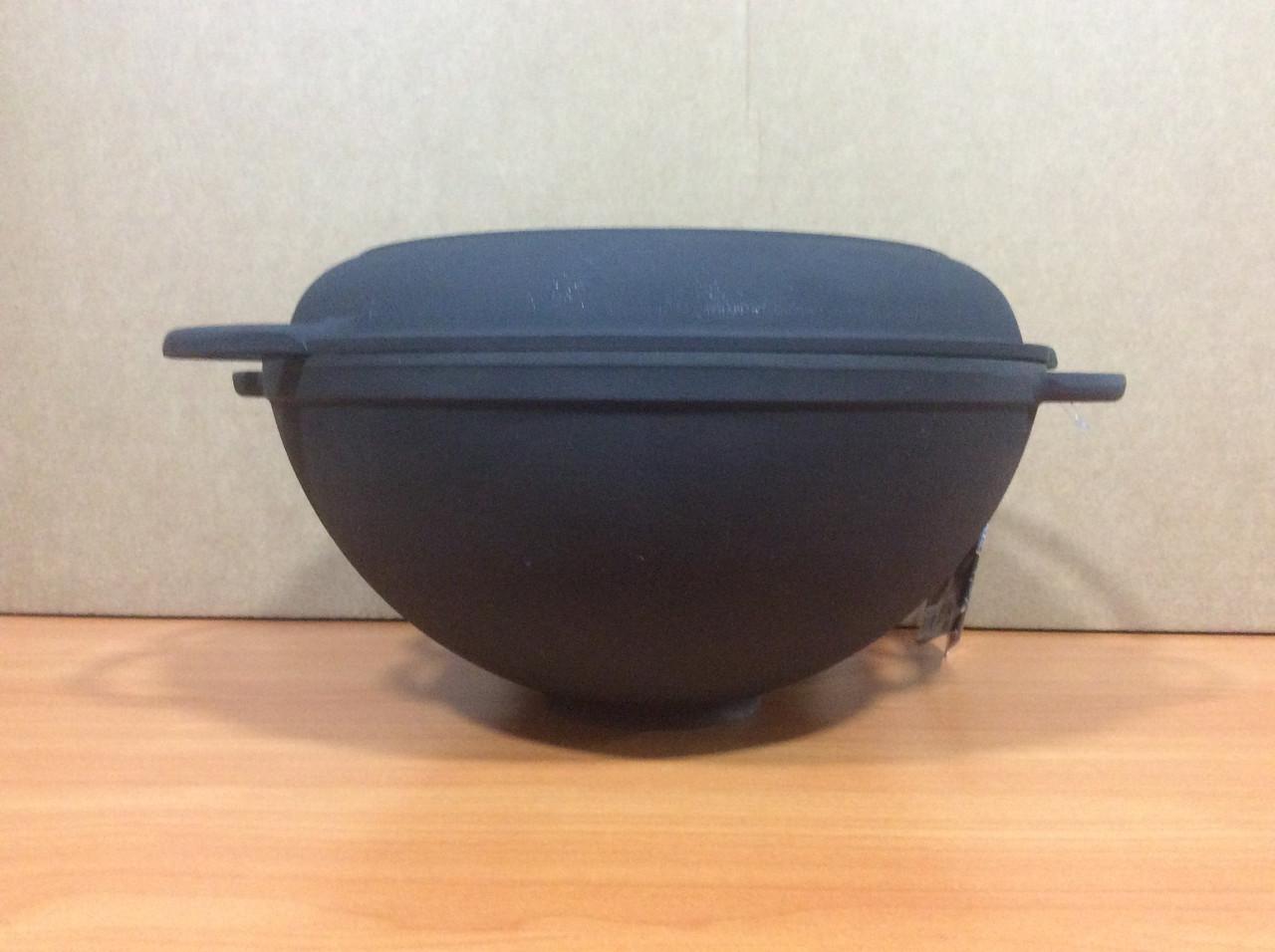 Чугунная кастрюля вок 3,5л с чугунной крышкой сковородкой