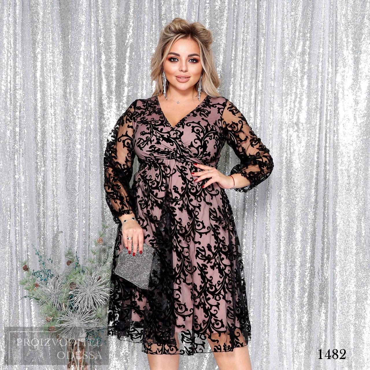 Платье вечернее красивое сетка флок+подкладка 50-52,54-56,58-60