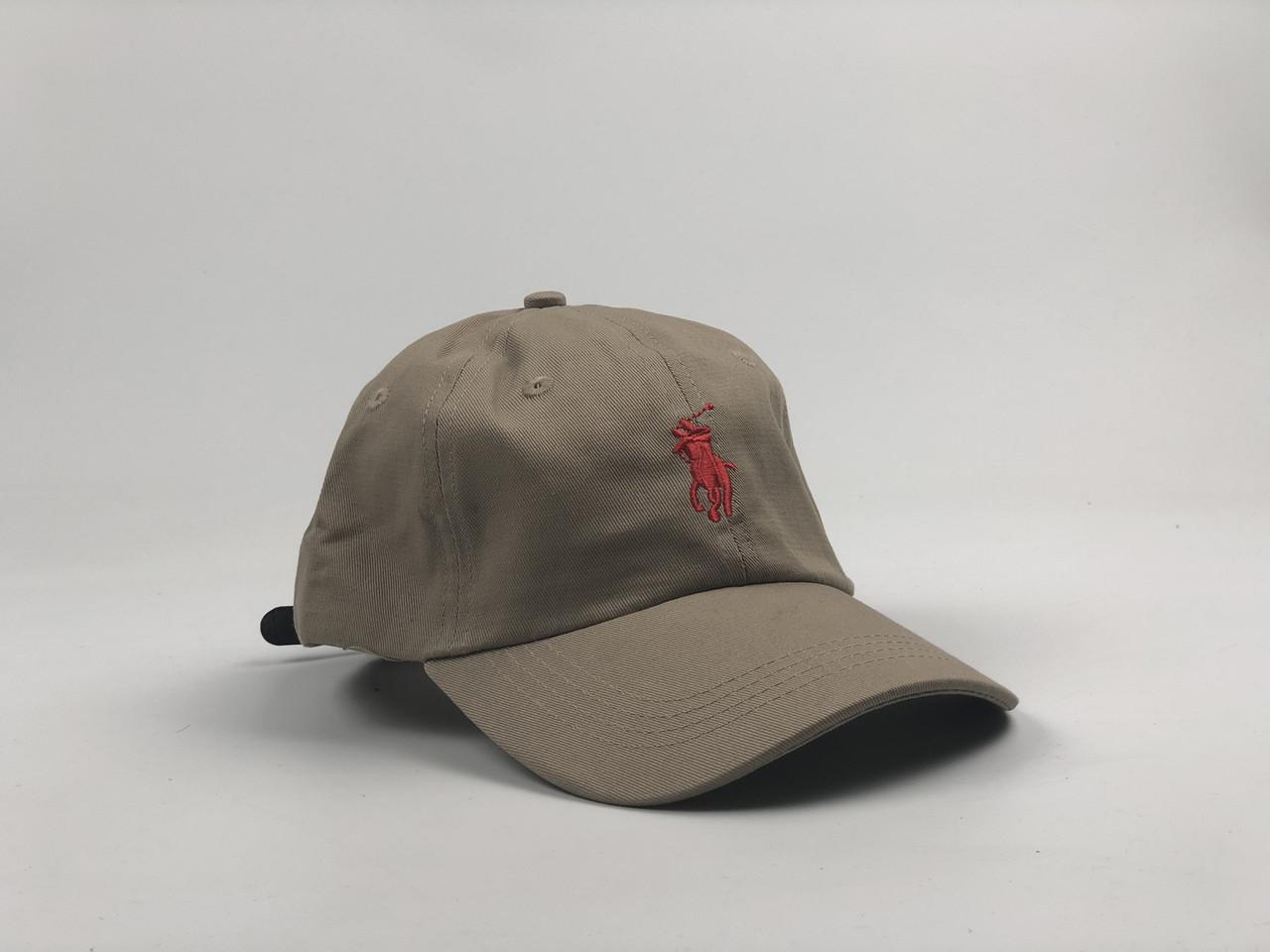 Кепка Бейсболка Мужская Женская Polo Ralph Lauren с кожаным ремешком Бежевая с Красным лого