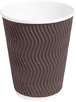 Стакан бумажный рифленый для кофе и чая коричневый 340 мл 15 шт