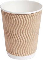 Стакан бумажный рифленый для кофе и чая бежевый 400мл 15 шт