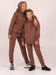 Теплый спортивный костюм с начесом мокко Chevron   на мальчика девочку 140 см