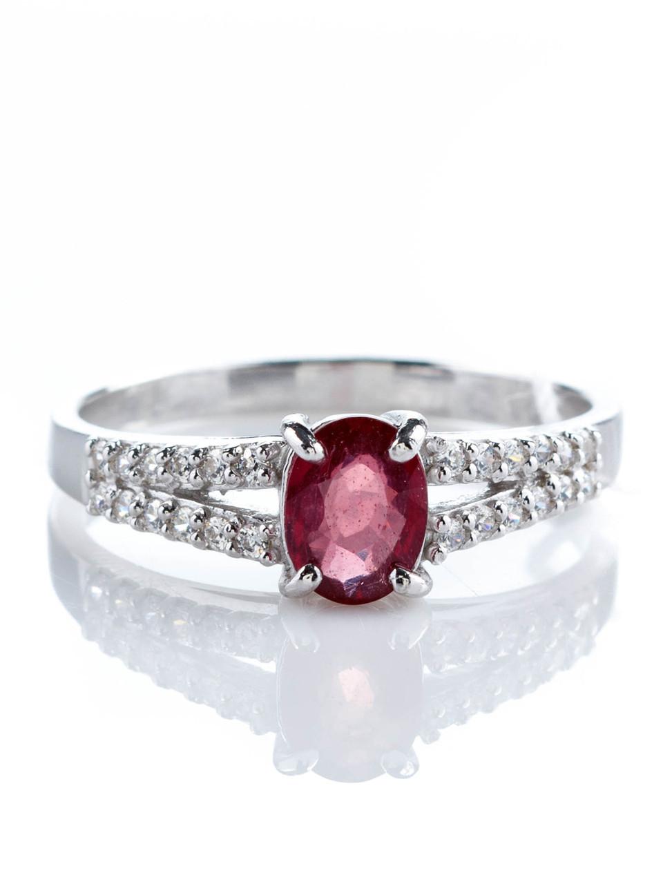 Кольцо серебряное с рубином
