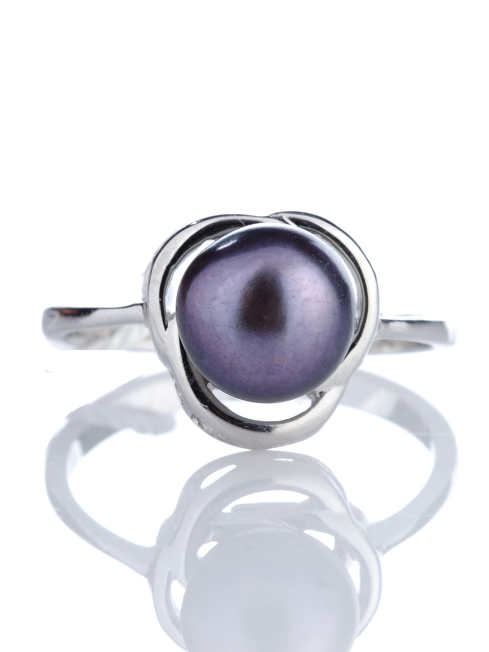 Кольцо серебряное с тёмным жемчугом