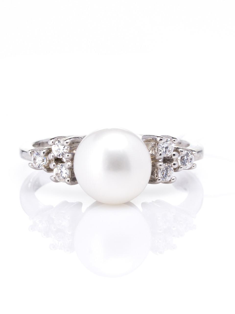 Кольцо серебряное с жемчугом