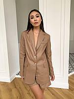 Піджак жіночий стильний з матовою еко шкіри на підкладці з підплічниками Pff259