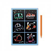 """Гравюра мини DoDo """"Транспорт"""" 300337, наборы для творчества,гравюра,детские наборы творчества,гравюра детская"""