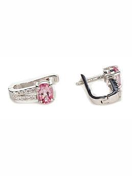 Сережки срібні з рожевим топазом