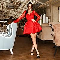 Женское шикарное платье с атласной юбкой воланами, фото 1