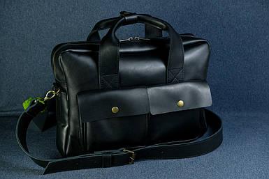 """Мужская сумка """"Модель №49"""" Кожа Итальянский краст цвет Черный"""