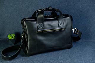 """Мужская сумка """"Модель №49"""" Кожа Итальянский краст цвет Черный, фото 3"""
