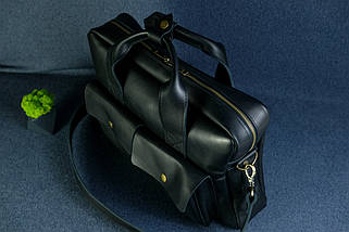 """Мужская сумка """"Модель №49"""" Кожа Итальянский краст цвет Черный, фото 2"""