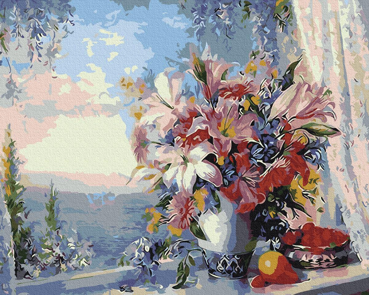 Картина по номерам GX4562 Лилии на окне 40х50см. Rainbow