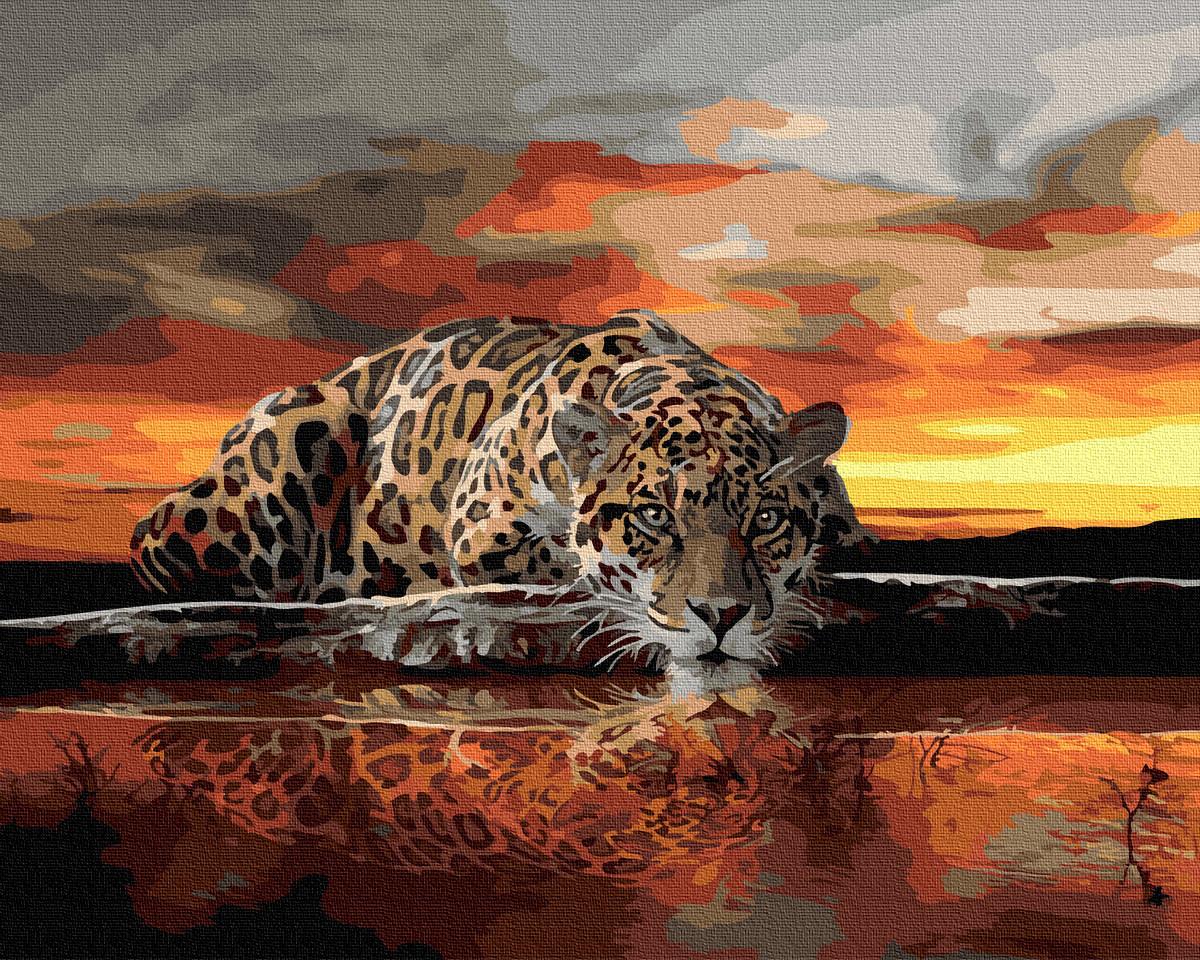 Картина по номерам GX27069 Леопард на закате 40х50см. Rainbow