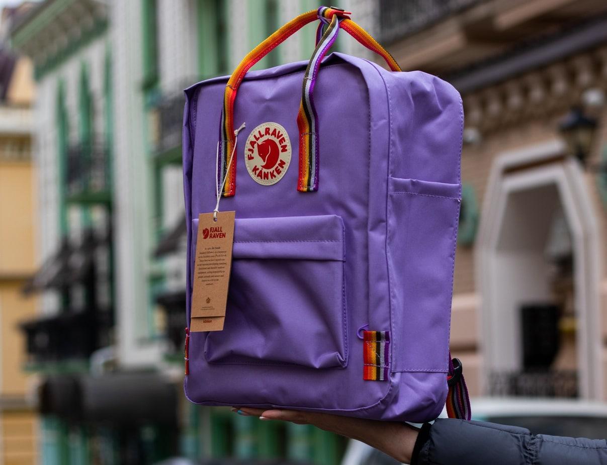 Рюкзак Fjallraven Kanken Rainbow (Фьялравен Канкен Радуга) Радужные ручки / Light Purple / Светло фиолетовый