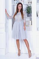 Женское пышное платье с ажурной вышивкой, фото 1