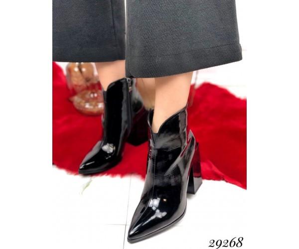 Ботильйони туфлі на стійкому квадратному каблуці