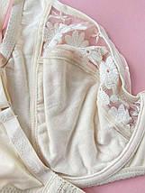 90D Кружевной бюстгальтер без поролона из микрофибры, бежевый лиф на косточках с хлопковой подкладкой, Finikin, фото 3