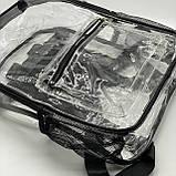 Женский большой прозрачный рюкзак черный, фото 3