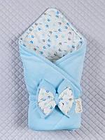 """Одеяло-конверт""""Короны"""" (мальч.) (голубой, велюр/интерлок, д/с, (90*90))"""