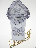 """Одеяло-конверт""""Очарование"""" (белый/серый металлик, велюр/кулир, (85*85))"""