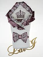 """Одеяло-конверт""""Очарование"""" (кремовый/сливовый, велюр/кулир, (85*85))"""