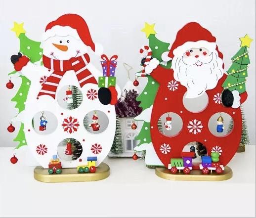 Деревенная новогодняя игрушка снеговик с украшениями