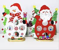 Деревенная новогодняя игрушка снеговик с украшениями, фото 1