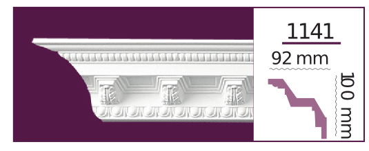 Карниз потолочный с орнаментом 1141 (2.40м) Home Decor, лепной декор из полиуретана