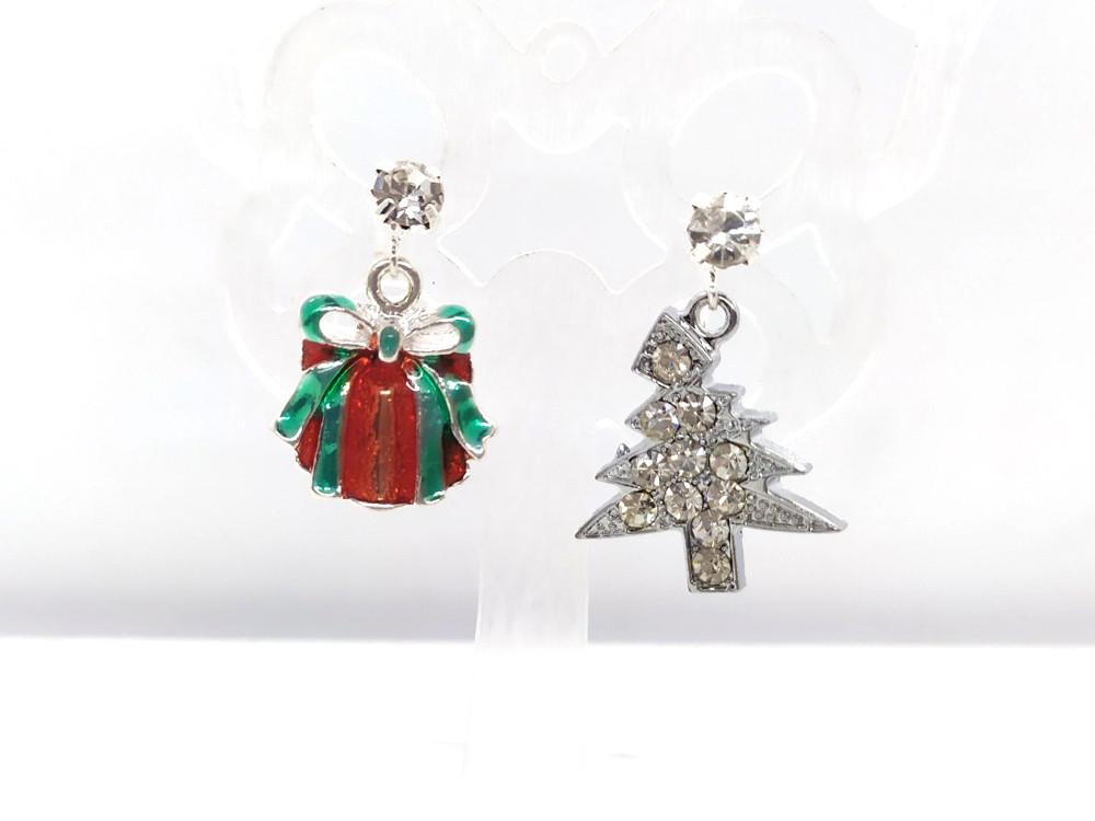 Подарок и Елочка со стразами - Новогодние серьги #31