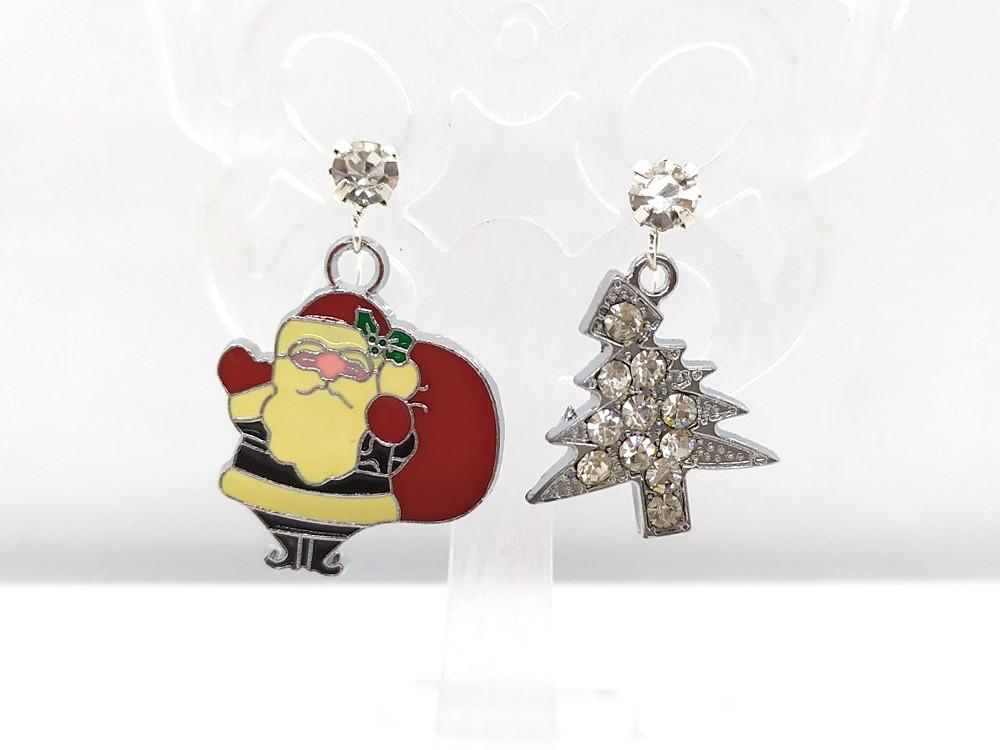 Санта и Елочка со стразами - Новогодние серьги #32