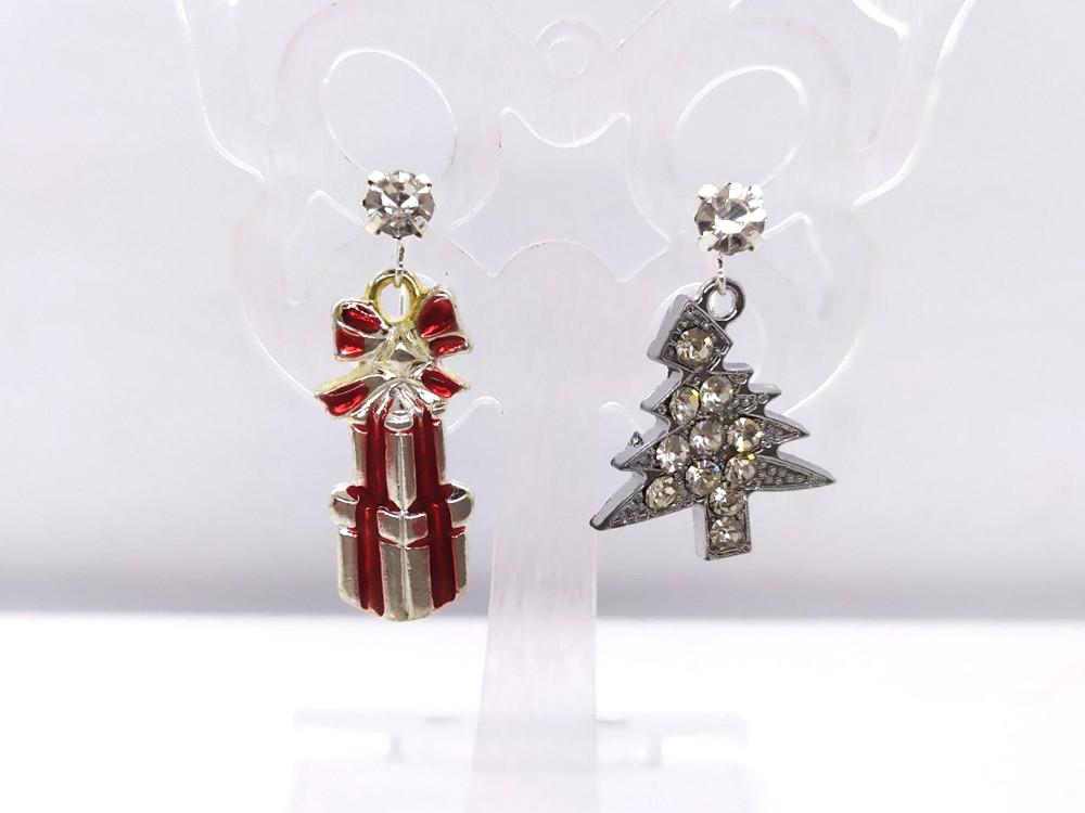 Подарунки і Ялинка зі стразами - Новорічні сережки #34