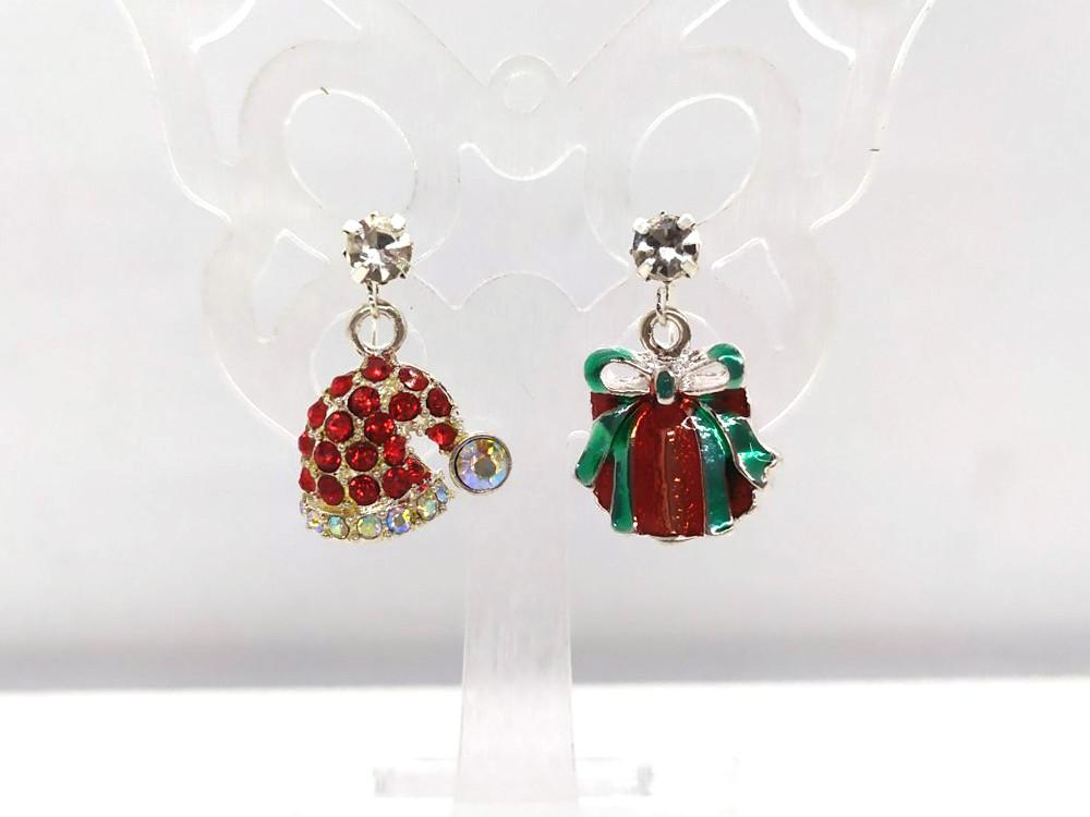 Шапка Санти і Подарунок - Новорічні сережки #39