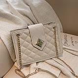 Женская классическая сумка на цепочке через плечо кроссбоди белая, фото 2